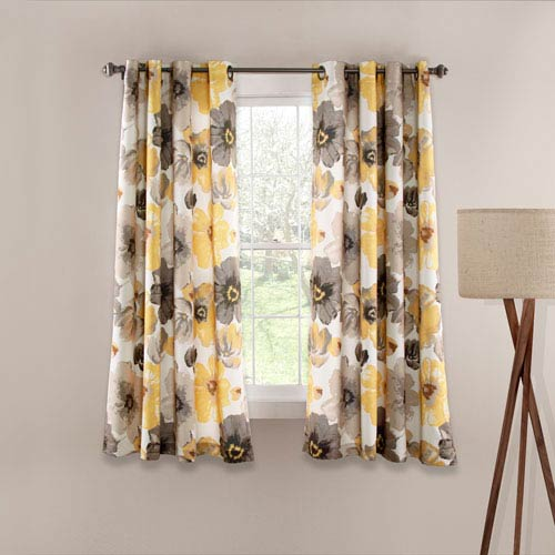 Leah Yellow and Gray 63-Inch x 52-Inch Window Curtain Set