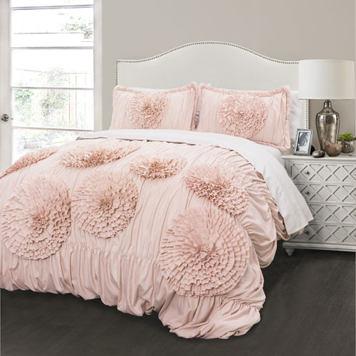 Serena Pink Blush Three-Piece Full/Queen Comforter Set