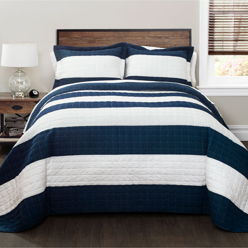 Lush Decor Navy and White Stripe Three-Piece Full/Queen Quilt Set