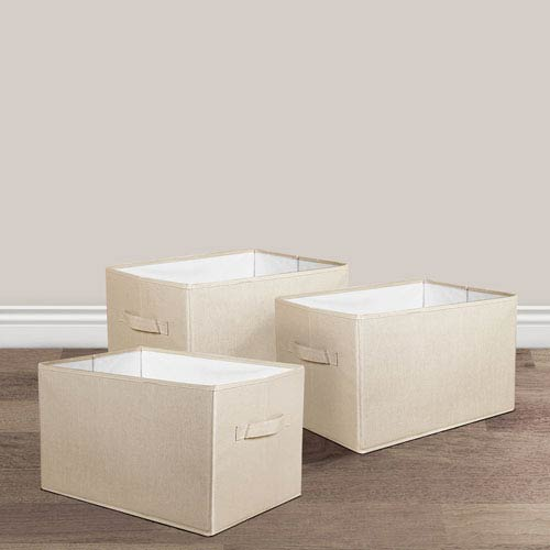 Linen Large Fabric Covered Collapsible Box, Three-Piece Set