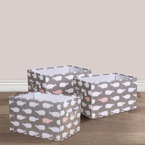 Pink Whale Large Fabric Covered Collapsible Box, Three-Piece Set