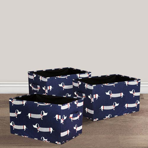 Navy Sausage Dog Fabric Covered Collapsible Box, Three-Piece Set