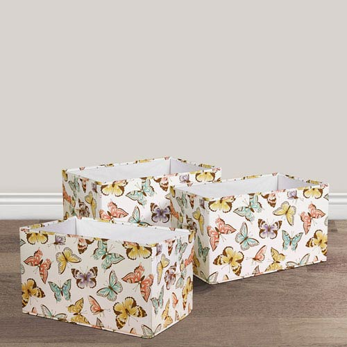 Flutter Butterfly Fabric Covered Collapsible Box, Three-Piece Set