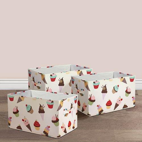 Lush Decor Cupcake Icecream Fabric Covered Collapsible Box, Three-Piece Set