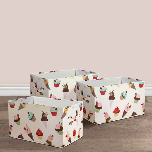Cupcake Icecream Fabric Covered Collapsible Box, Three-Piece Set
