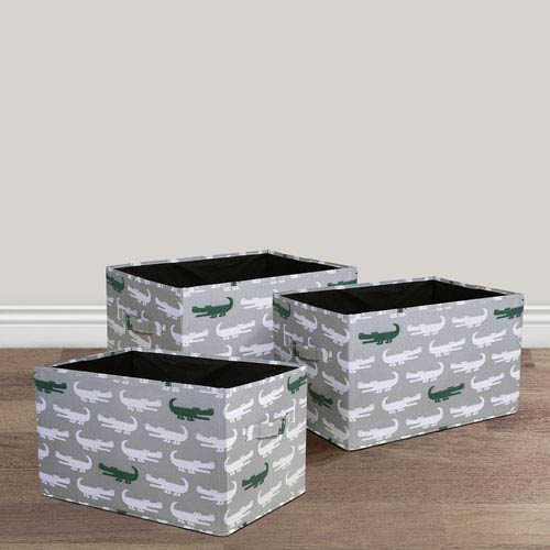 Alligator Fabric Covered Collapsible Box, Three-Piece Set