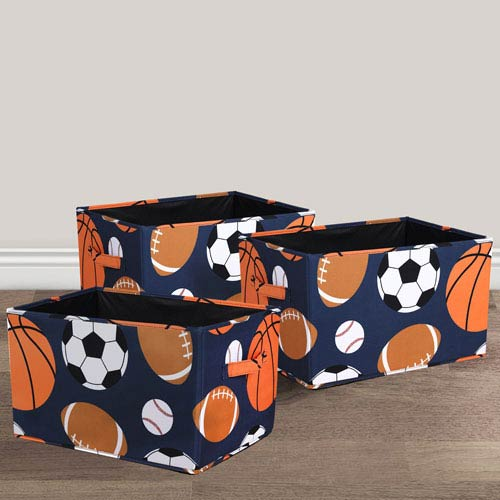 Sports Fabric Covered Collapsible Box, Three-Piece Set