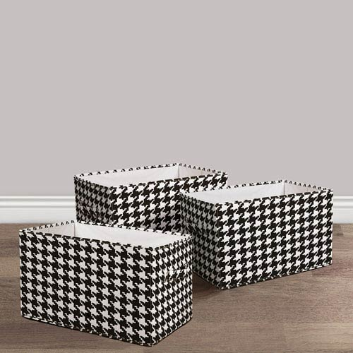 Lush Decor Houndstooth Fabric Covered Collapsible Box, Three-Piece Set