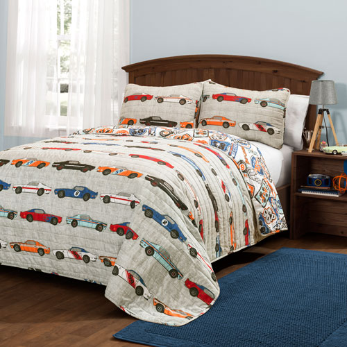 Race Cars Blue and Orange Two-Piece Twin Quilt Set