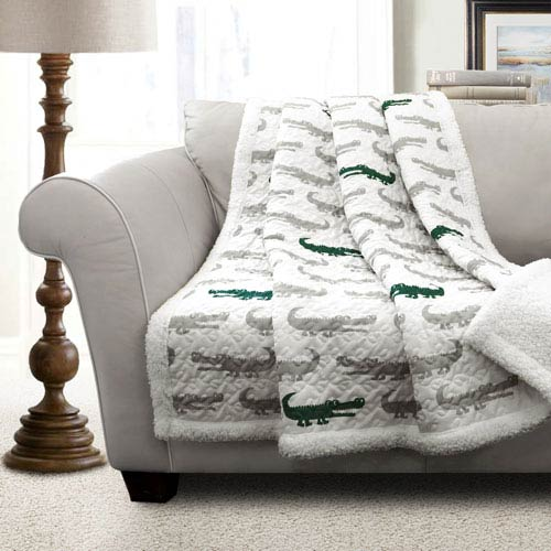 Gray and Green Alligator Sherpa Throw