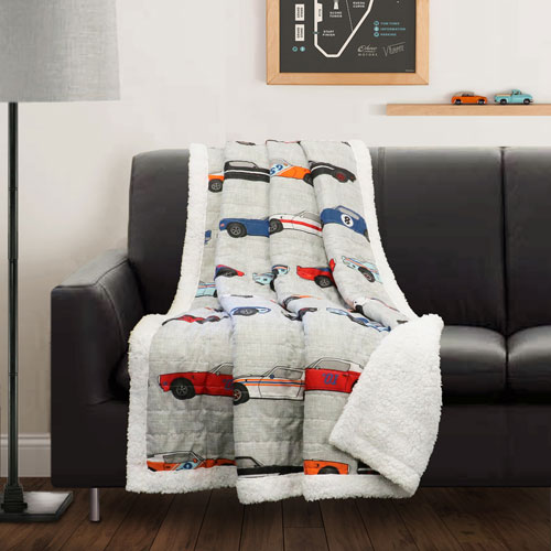 Race Cars Blue and Orange Sherpa Throw