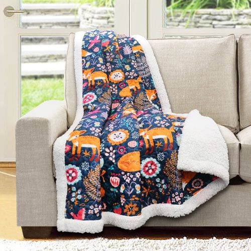 Navy Pixie Fox Sherpa Throw