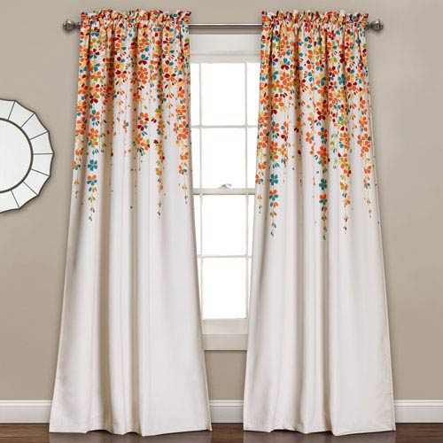 Turquoise Weeping Flowers 84 x 52-Inch Room Darkening Window Curtain Set