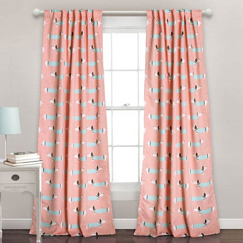 Lush Decor Pink Sausage Dog 84 x 52-Inch Room Darkening Window Curtain Set