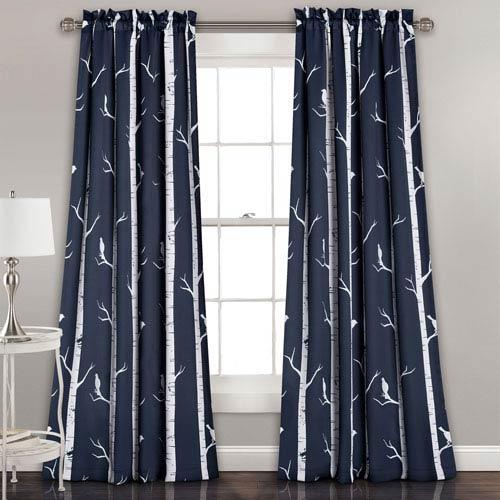 Lush Decor Navy Bird on the Tree 84 x 52-Inch Room Darkening Window Curtain Set