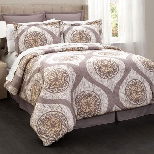 Mari Queen Taupe Six-Piece Comforter Set