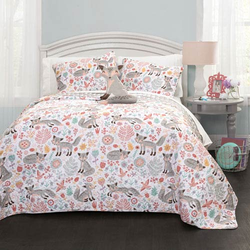 Pixie Fox Gray and Pink Three-Piece Twin Quilt Set