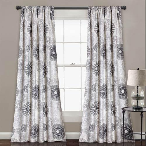 Gray Circles 84 x 52-Inch Room Darkening Window Curtain Set
