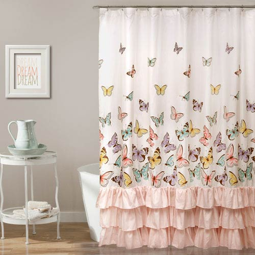 Lush Decor Flutter Butterfly Pink 72 Inch Shower Curtain