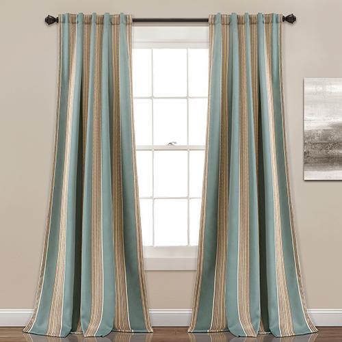 Julia Stripe Blue 84 x 52 In. Room Darkening Curtain Panel Set