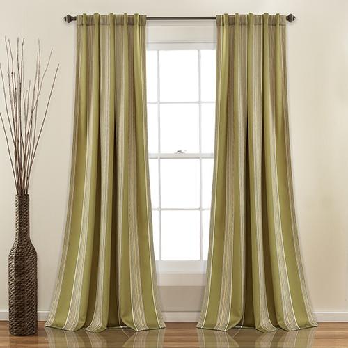 Julia Stripe Sage 84 x 52 In. Room Darkening Curtain Panel Set