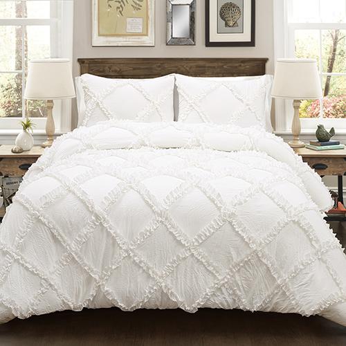 Ruffle Diamond White Full/Queen Three-Piece Comforter Set