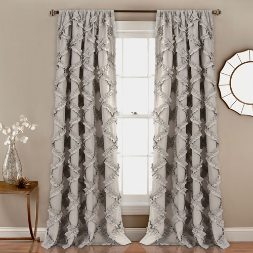 Ruffle Diamond Gray 84 x 54 In. Curtain  Set