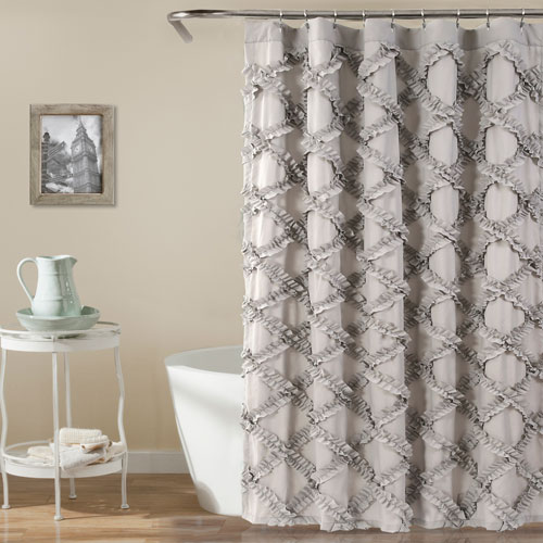 Ruffle Diamond Gray 72 In. Shower Curtain
