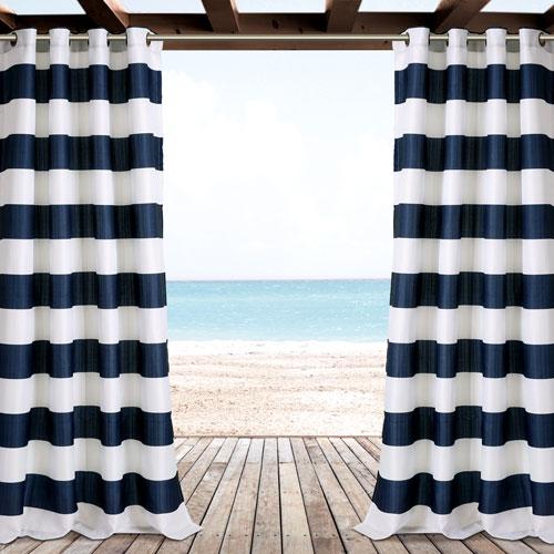 Lush Decor Navy Stripe 84 x 52 In. Outdoor Window Curtain Panel