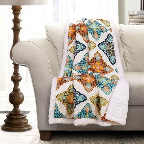 Lush Decor Persis Turquoise And Orange Sherpa Throw 40T004029 Bellacor Stunning Lush Decor Throw Pillows