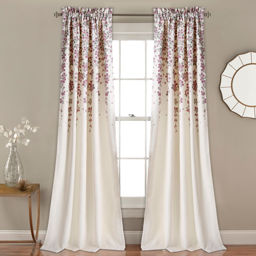 Weeping Flower Purple and Gray 84 x 52 In. Room Darkening Window Curtain Set