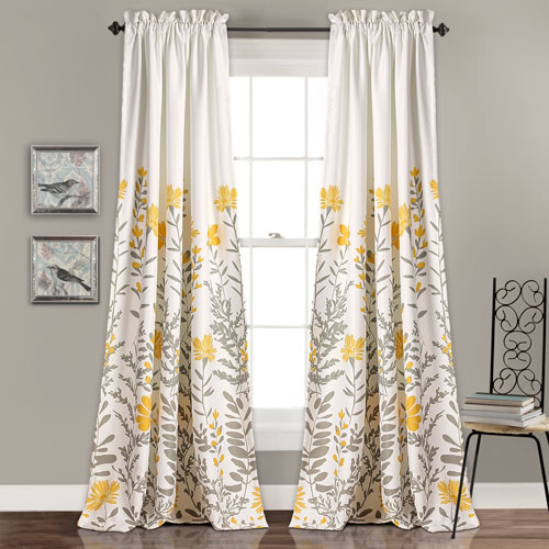 Aprile Yellow and Gray 84 x 52 In. Room Darkening Window Two-Piece Set