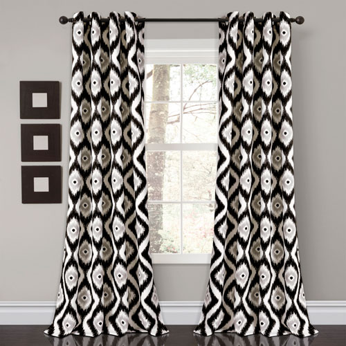 Diamond Ikat Black 84 x 52 In. Room Darkening Window Curtain Set