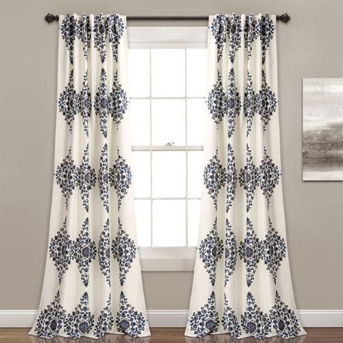 Keya Medallion Cream 84 x 52 In. Room Darkening Window Curtain Set