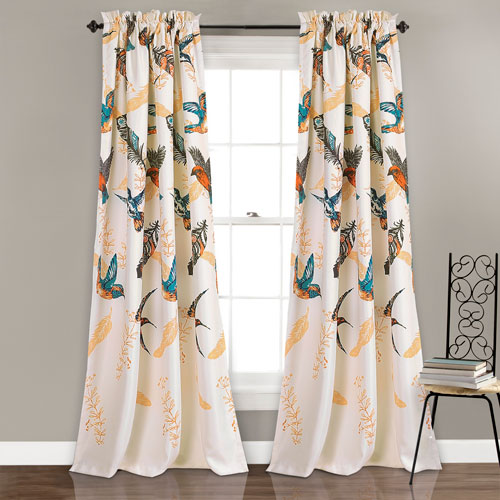 Bird Breeze Multicolor 84 x 52 In. Room Darkening Window Two-Piece Set