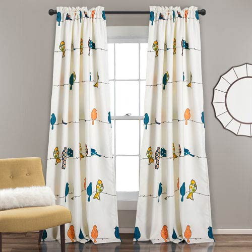 Rowley Birds Multicolor 84 x 52 In. Room Darkening Window Two-Piece Set