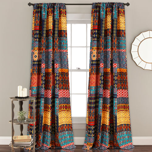 Misha Multicolor 84 x 52 In. Room Darkening Window Curtain Set
