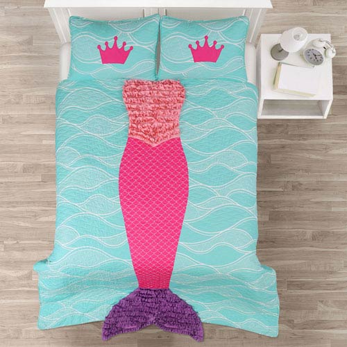 Mermaid Ruffle Pink and Purple Twin Two-Piece Quilt Set