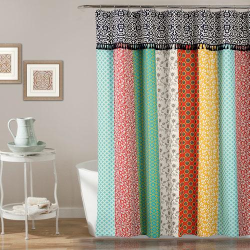 Boho Patch Orange 72 In. Shower Curtain