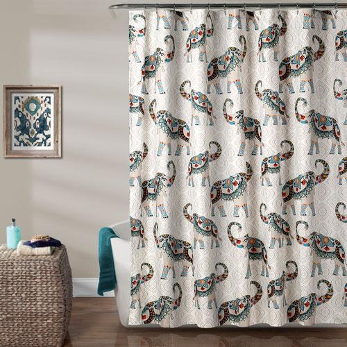 Lush Decor Hati Elephants Navy Shower Curtain