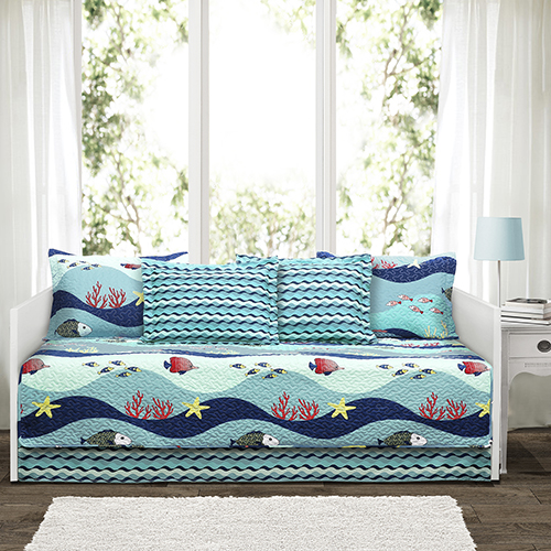 Sealife Blue 75 x 39 In. Six-Piece Daybed Cover Set