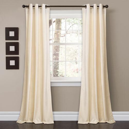 Prima Velvet Ivory 84 x 38 In. Solid Room Darkening Window Curtain Set