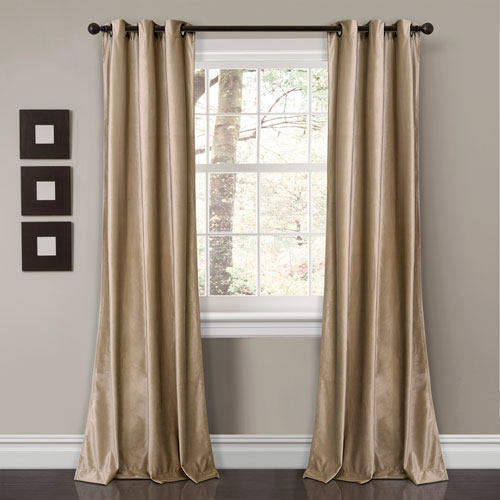 Prima Velvet Taupe 84 x 38 In. Solid Room Darkening Window Curtain Set