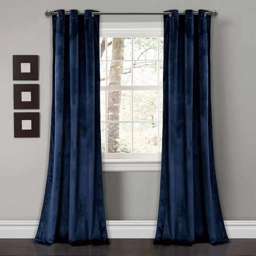 Prima Velvet Navy 84 x 38 In. Solid Room Darkening Window Curtain Set