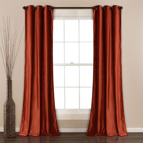 Prima Velvet Rust 84 x 38 In. Solid Room Darkening Window Curtain Set