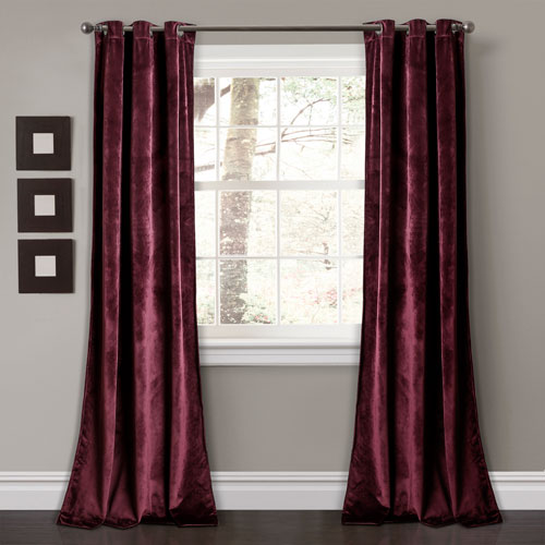Prima Velvet Plum 84 x 38 In. Solid Room Darkening Window Curtain Set