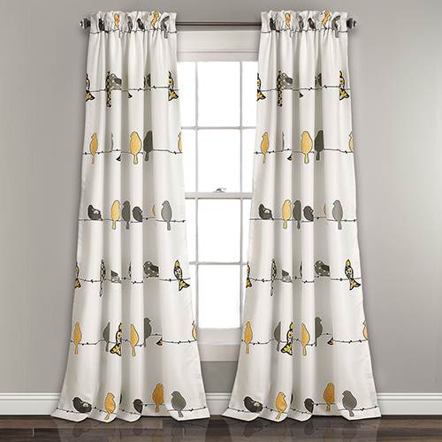 Rowley Birds Yellow and Gray 84 x 52 In. Room Darkening Curtain Panel Set
