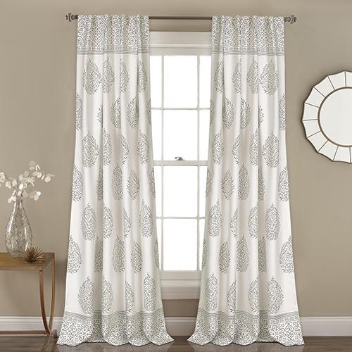 Teardrop Leaf Gray 84 x 52 In. Room Darkening Curtain Panel Set