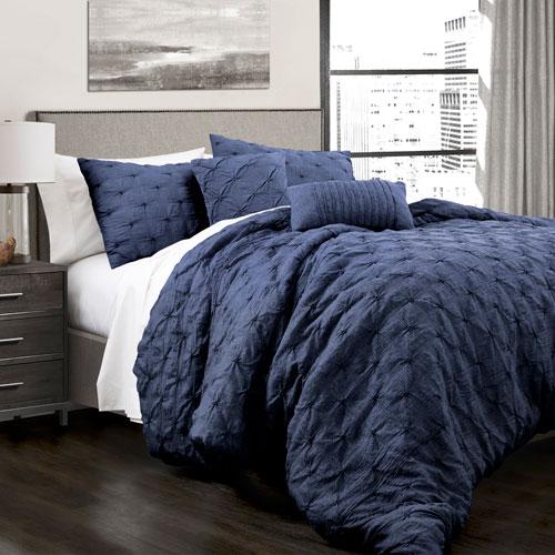 Ravello Pintuck Navy King Five-Piece Comforter Set
