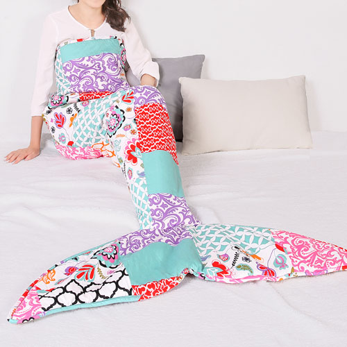 Brookdale Patchwork Purple and Turquoise Mermaid Shape Sherpa Throw